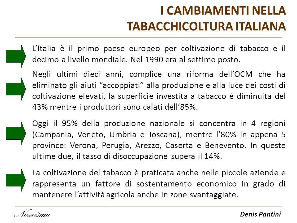 Denis Pantini I CAMBIAMENTI NELLA TABACCHICOLTURA ITALIANA LItalia è il primo paese europeo per coltivazione di tabacco e il decimo a livello mondiale