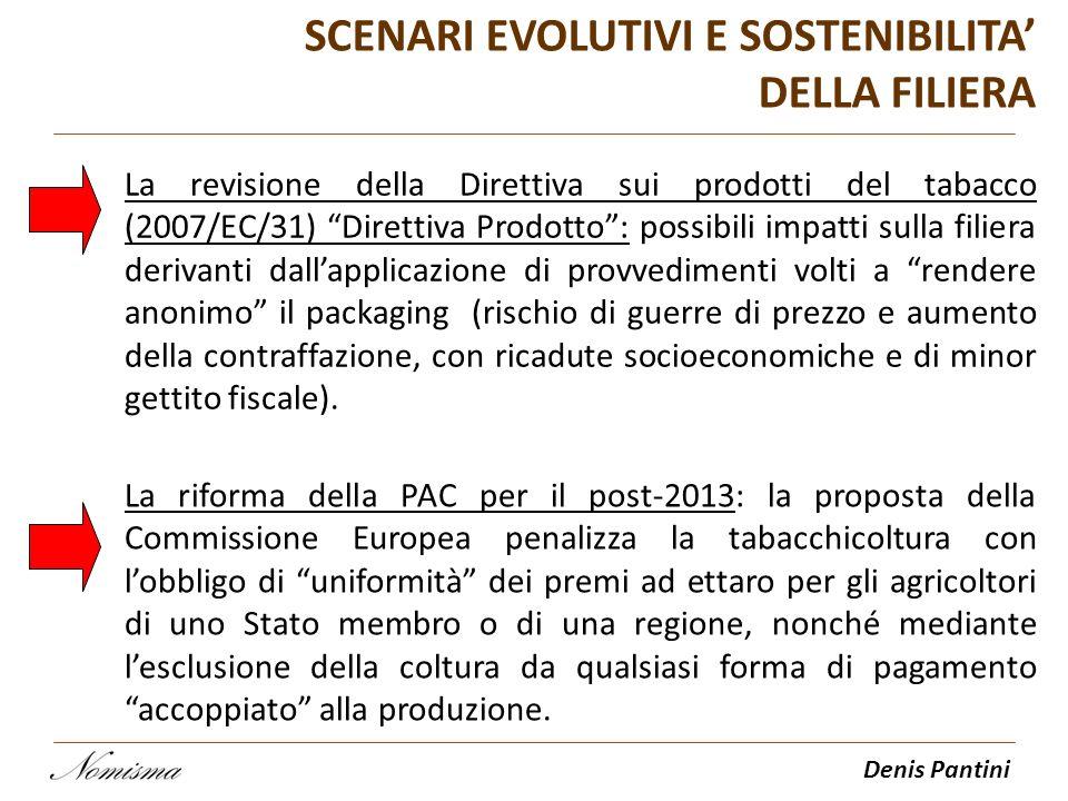 Denis Pantini SCENARI EVOLUTIVI E SOSTENIBILITA DELLA FILIERA La revisione della Direttiva sui prodotti del tabacco (2007/EC/31) Direttiva Prodotto: p