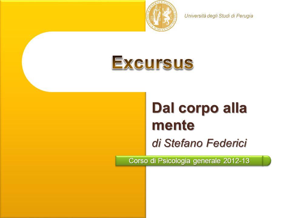 Corso di Psicologia generale 2012-13 Università degli Studi di Perugia Dal corpo alla mente di Stefano Federici