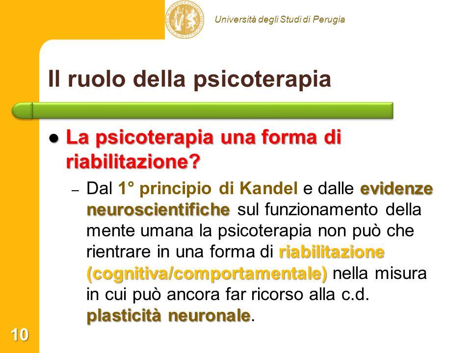 Università degli Studi di Perugia Il ruolo della psicoterapia La psicoterapia una forma di riabilitazione? La psicoterapia una forma di riabilitazione