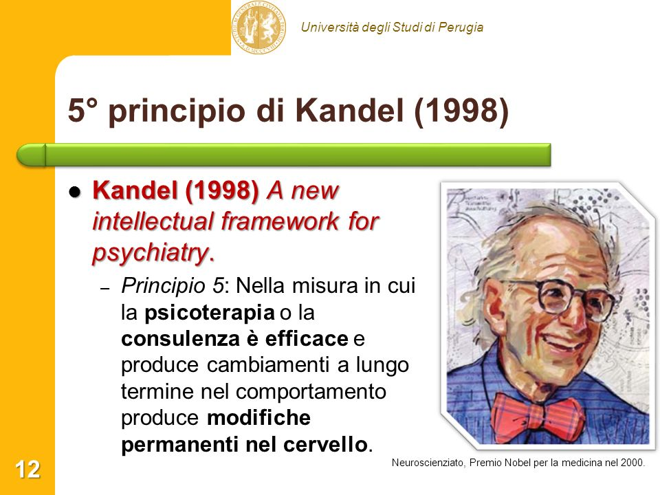 Università degli Studi di Perugia 5° principio di Kandel (1998) Kandel (1998) A new intellectual framework for psychiatry. Kandel (1998) A new intelle