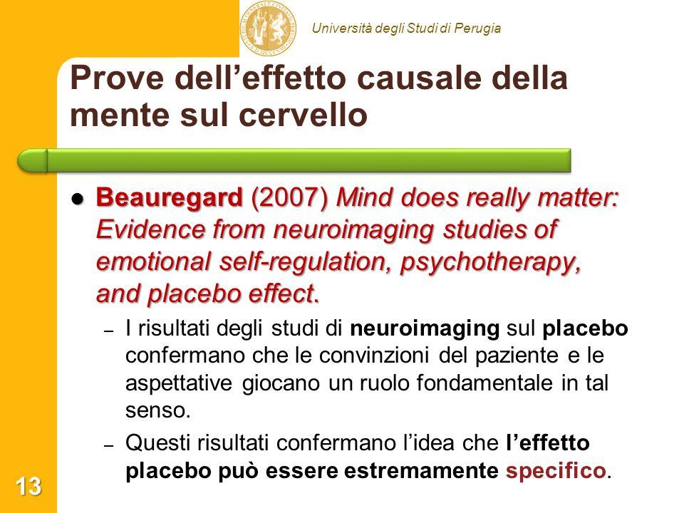 Università degli Studi di Perugia Prove delleffetto causale della mente sul cervello Beauregard (2007) Mind does really matter: Evidence from neuroimaging studies of emotional self-regulation, psychotherapy, and placebo effect.