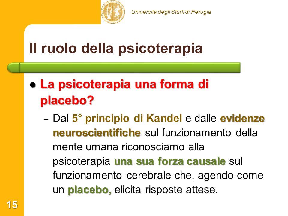 Università degli Studi di Perugia Il ruolo della psicoterapia La psicoterapia una forma di placebo? La psicoterapia una forma di placebo? – evidenze n