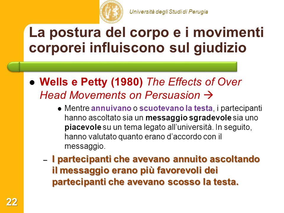 Università degli Studi di Perugia La postura del corpo e i movimenti corporei influiscono sul giudizio Wells e Petty (1980) The Effects of Over Head M