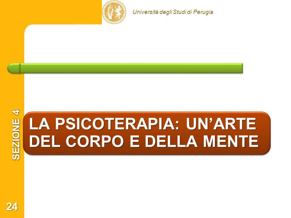 Università degli Studi di Perugia LA PSICOTERAPIA: UNARTE DEL CORPO E DELLA MENTE SEZIONE 4 24