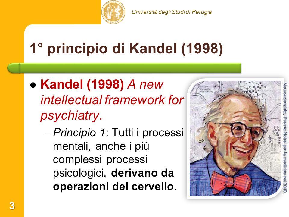 Università degli Studi di Perugia 1° principio di Kandel (1998) Kandel (1998) A new intellectual framework for psychiatry. – – Principio 1: Tutti i pr