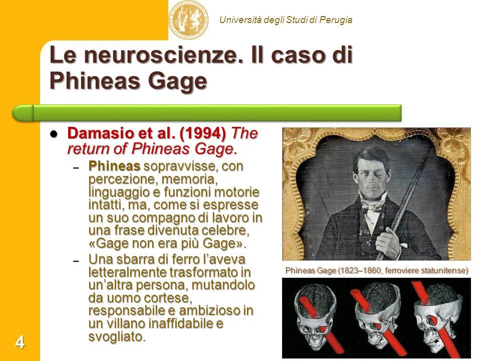 Università degli Studi di Perugia Le neuroscienze. Il caso di Phineas Gage Damasio et al. (1994) The return of Phineas Gage. Damasio et al. (1994) The
