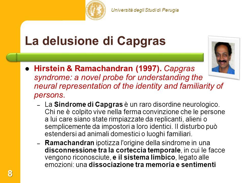 Università degli Studi di Perugia La delusione di Capgras Hirstein & Ramachandran (1997). Capgras syndrome: a novel probe for understanding the neural