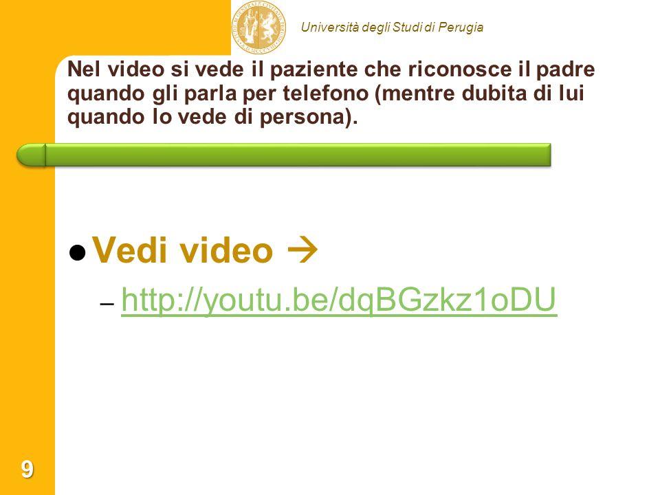 Università degli Studi di Perugia Nel video si vede il paziente che riconosce il padre quando gli parla per telefono (mentre dubita di lui quando lo v