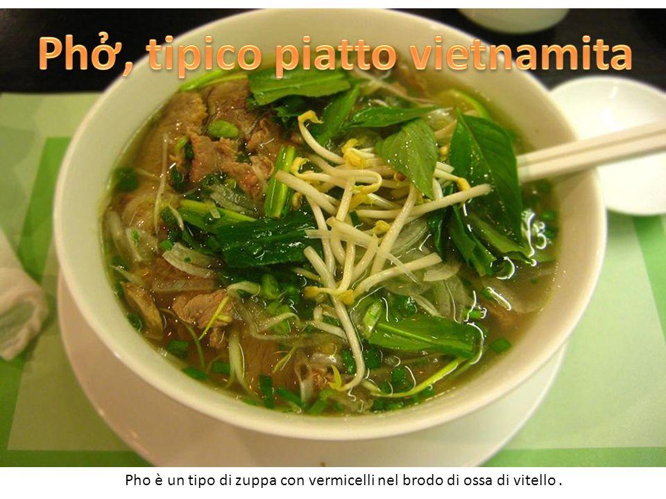 Pho è un tipo di zuppa con vermicelli nel brodo di ossa di vitello.
