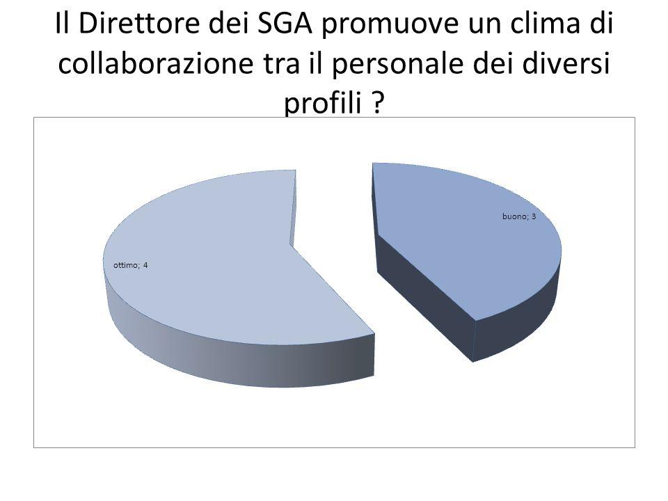 Il Direttore dei SGA promuove un clima di collaborazione tra il personale dei diversi profili