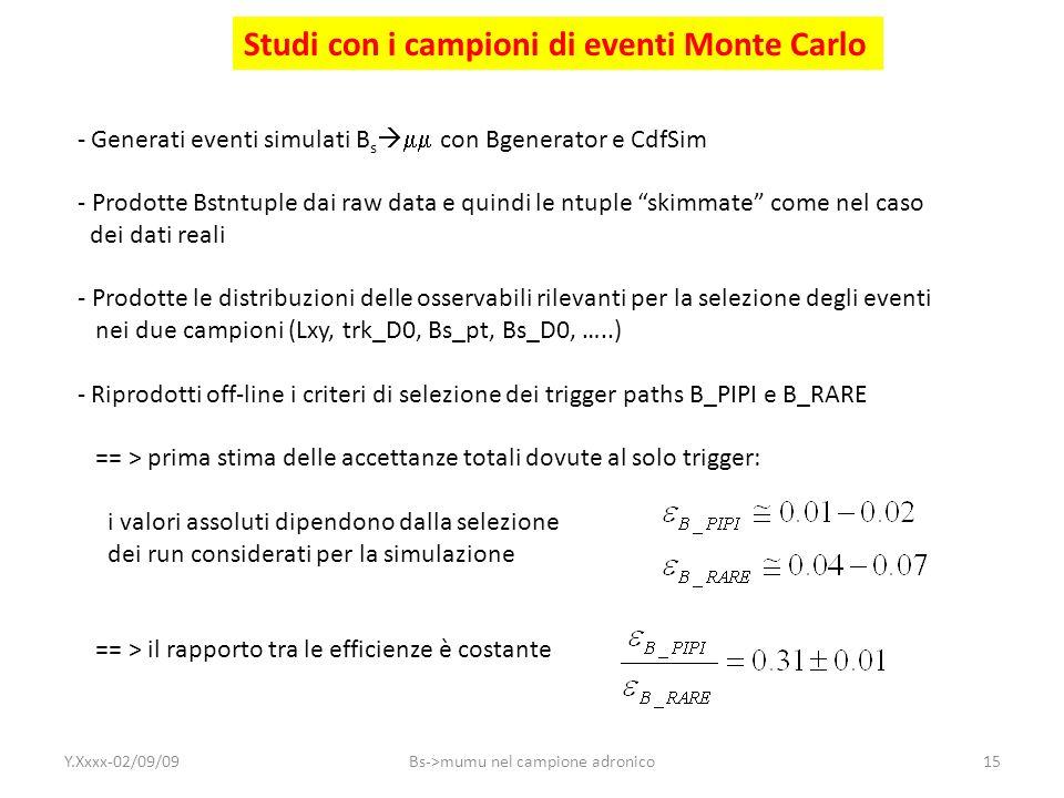 Studi con i campioni di eventi Monte Carlo - Generati eventi simulati B s con Bgenerator e CdfSim - Prodotte Bstntuple dai raw data e quindi le ntuple
