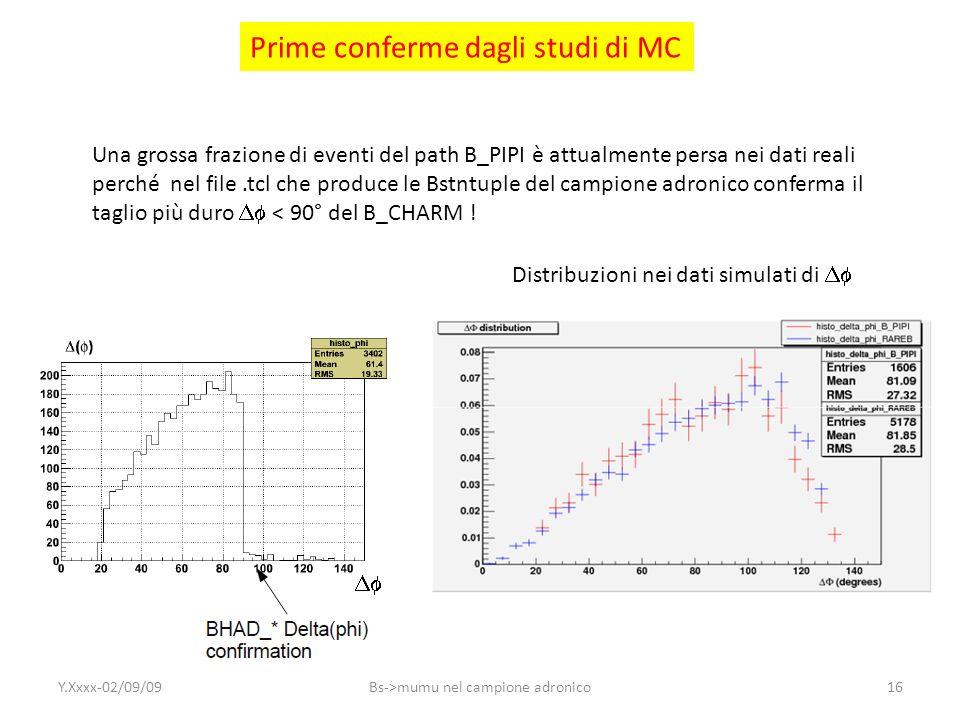 Prime conferme dagli studi di MC Distribuzioni nei dati simulati di Una grossa frazione di eventi del path B_PIPI è attualmente persa nei dati reali p