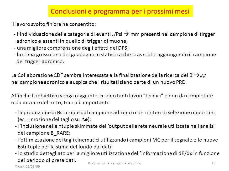 Conclusioni e programma per i prossimi mesi Il lavoro svolto finora ha consentito: - lindividuazione delle categorie di eventi J/Psi mm presenti nel c