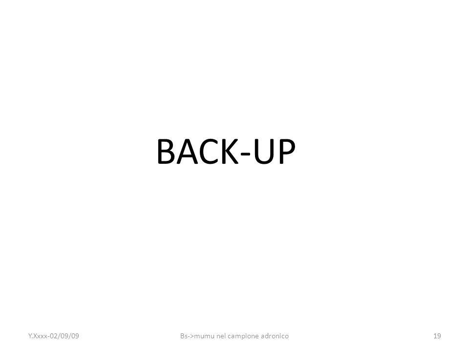 19 BACK-UP Y.Xxxx-02/09/09Bs->mumu nel campione adronico
