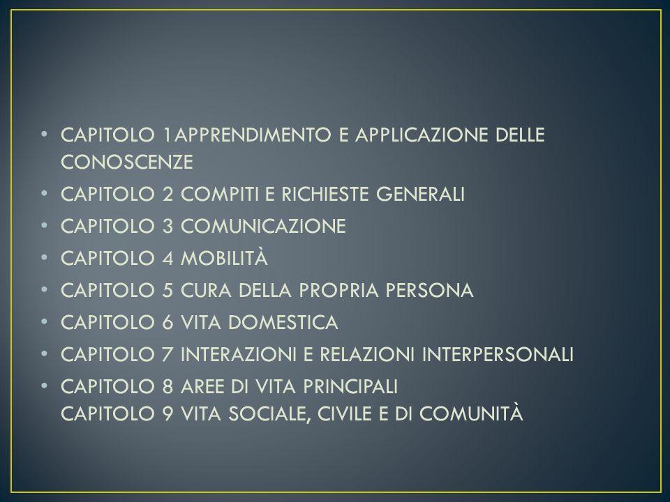 CAPITOLO 1APPRENDIMENTO E APPLICAZIONE DELLE CONOSCENZE CAPITOLO 2 COMPITI E RICHIESTE GENERALI CAPITOLO 3 COMUNICAZIONE CAPITOLO 4 MOBILITÀ CAPITOLO