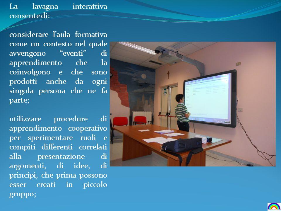 La lavagna interattiva consente di: considerare laula formativa come un contesto nel quale avvengono eventi di apprendimento che la coinvolgono e che