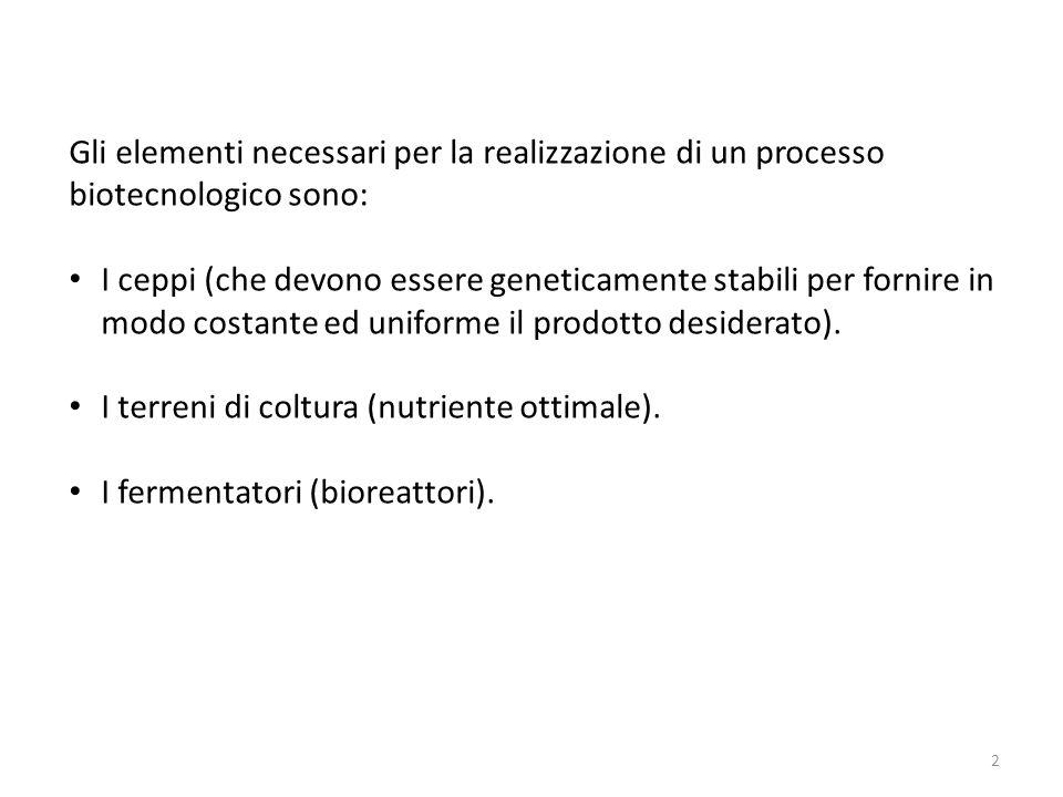 Gli elementi necessari per la realizzazione di un processo biotecnologico sono: I ceppi (che devono essere geneticamente stabili per fornire in modo c