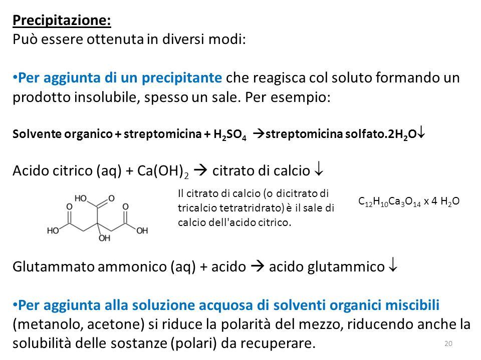 Precipitazione: Può essere ottenuta in diversi modi: Per aggiunta di un precipitante che reagisca col soluto formando un prodotto insolubile, spesso u