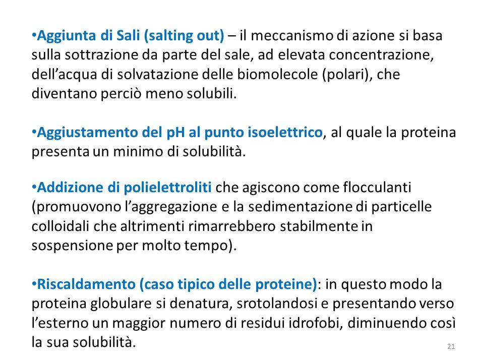 Aggiunta di Sali (salting out) – il meccanismo di azione si basa sulla sottrazione da parte del sale, ad elevata concentrazione, dellacqua di solvataz