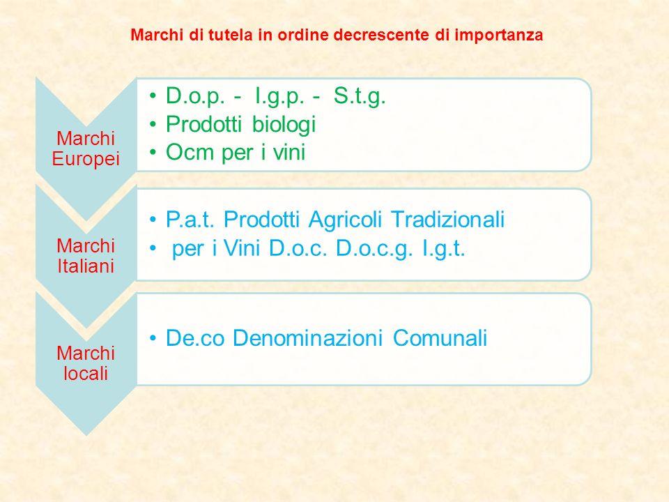Marchi Europei D.o.p. - I.g.p. - S.t.g. Prodotti biologi Ocm per i vini Marchi Italiani P.a.t. Prodotti Agricoli Tradizionali per i Vini D.o.c. D.o.c.