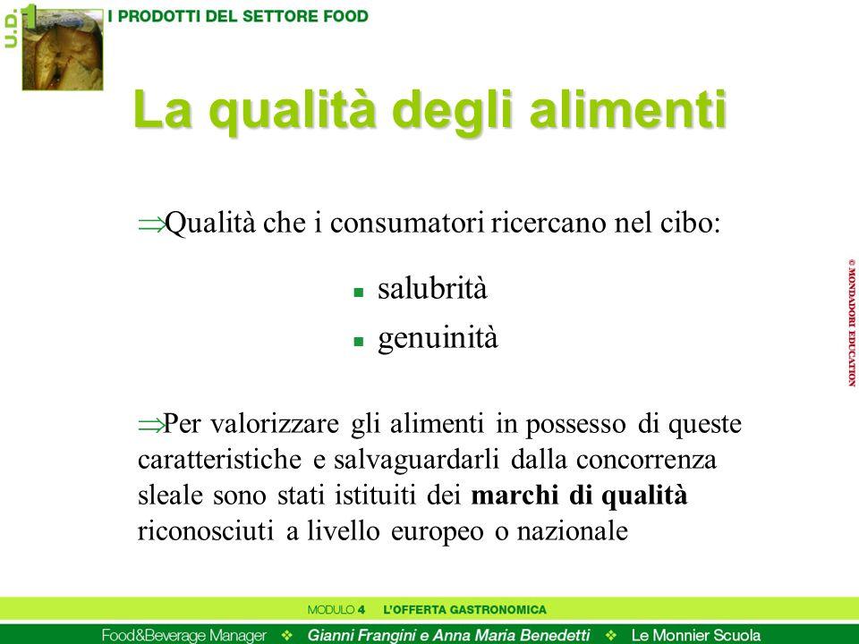 La qualità degli alimenti Qualità che i consumatori ricercano nel cibo: n salubrità n genuinità Per valorizzare gli alimenti in possesso di queste car
