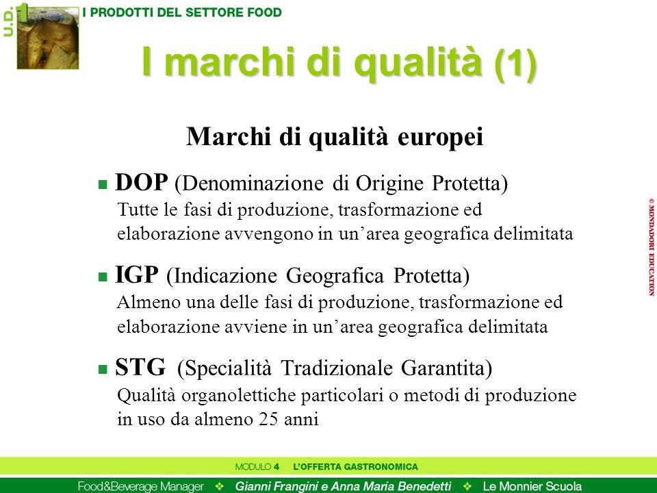 I marchi di qualità (1) n DOP (Denominazione di Origine Protetta) Tutte le fasi di produzione, trasformazione ed elaborazione avvengono in unarea geog