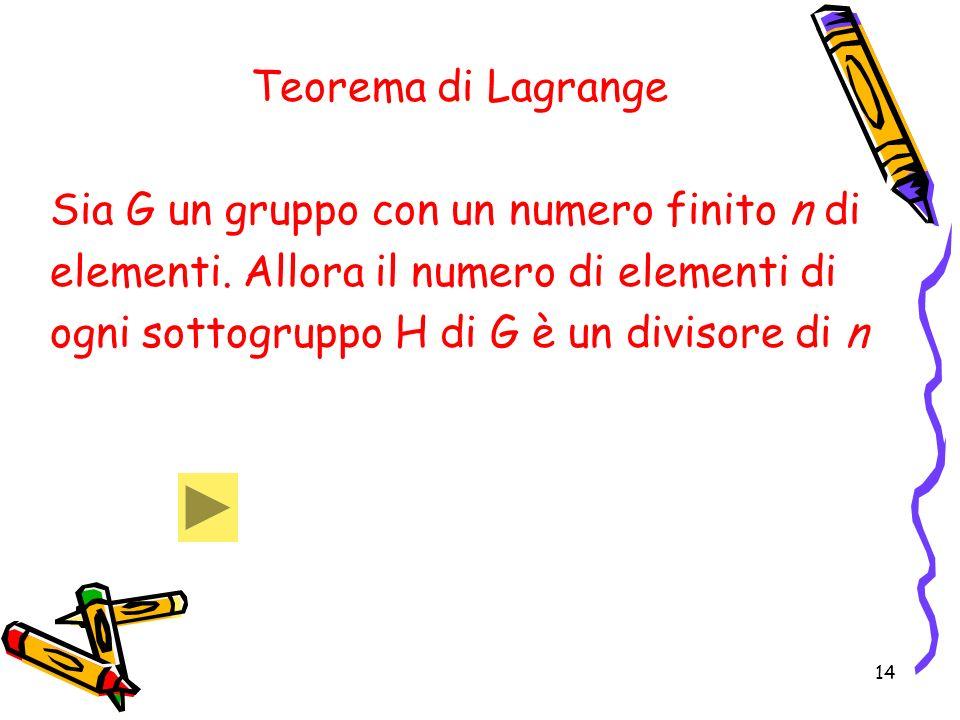 14 Teorema di Lagrange Sia G un gruppo con un numero finito n di elementi. Allora il numero di elementi di ogni sottogruppo H di G è un divisore di n