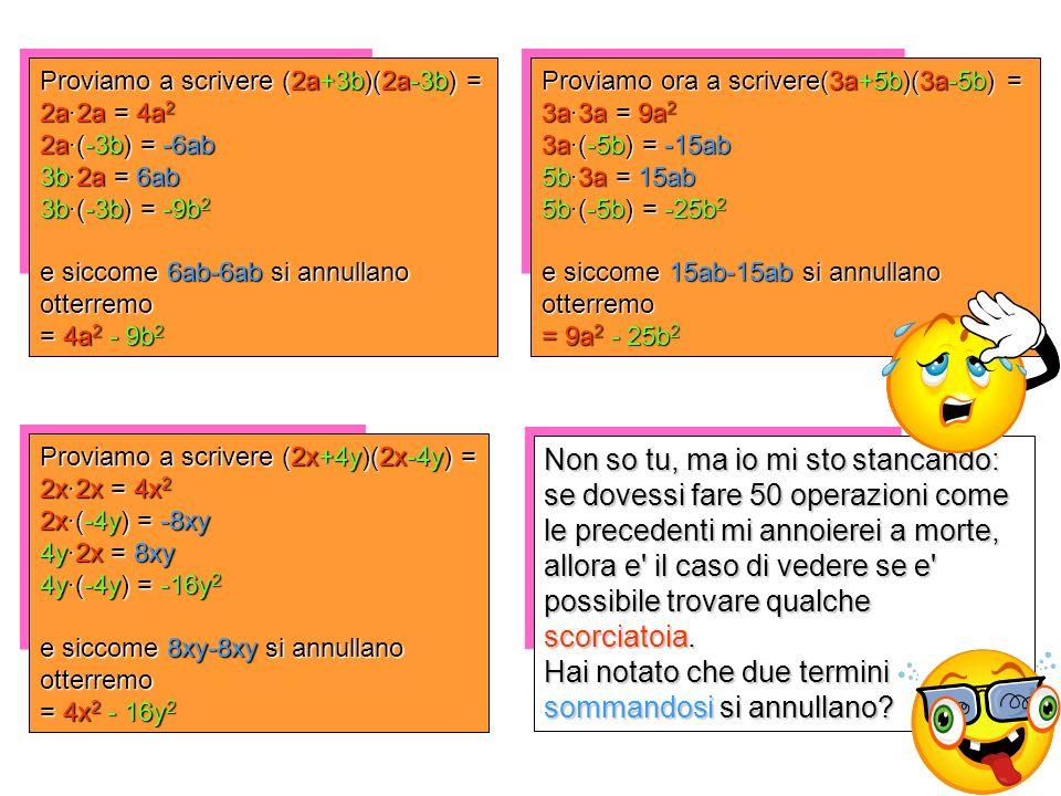 Proviamo a scrivere (2a+3b)(2a-3b) = 2a·2a = 4a 2 2a·(-3b) = -6ab 3b·2a = 6ab 3b·(-3b) = -9b 2 e siccome 6ab-6ab si annullano otterremo = 4a 2 - 9b 2 Proviamo a scrivere (2x+4y)(2x-4y) = 2x·2x = 4x 2 2x·(-4y) = -8xy 4y·2x = 8xy 4y·(-4y) = -16y 2 e siccome 8xy-8xy si annullano otterremo = 4x 2 - 16y 2 Proviamo ora a scrivere(3a+5b)(3a-5b) = 3a·3a = 9a 2 3a·(-5b) = -15ab 5b·3a = 15ab 5b·(-5b) = -25b 2 e siccome 15ab-15ab si annullano otterremo = 9a 2 - 25b 2 Non so tu, ma io mi sto stancando: se dovessi fare 50 operazioni come le precedenti mi annoierei a morte, allora e il caso di vedere se e possibile trovare qualche scorciatoia.