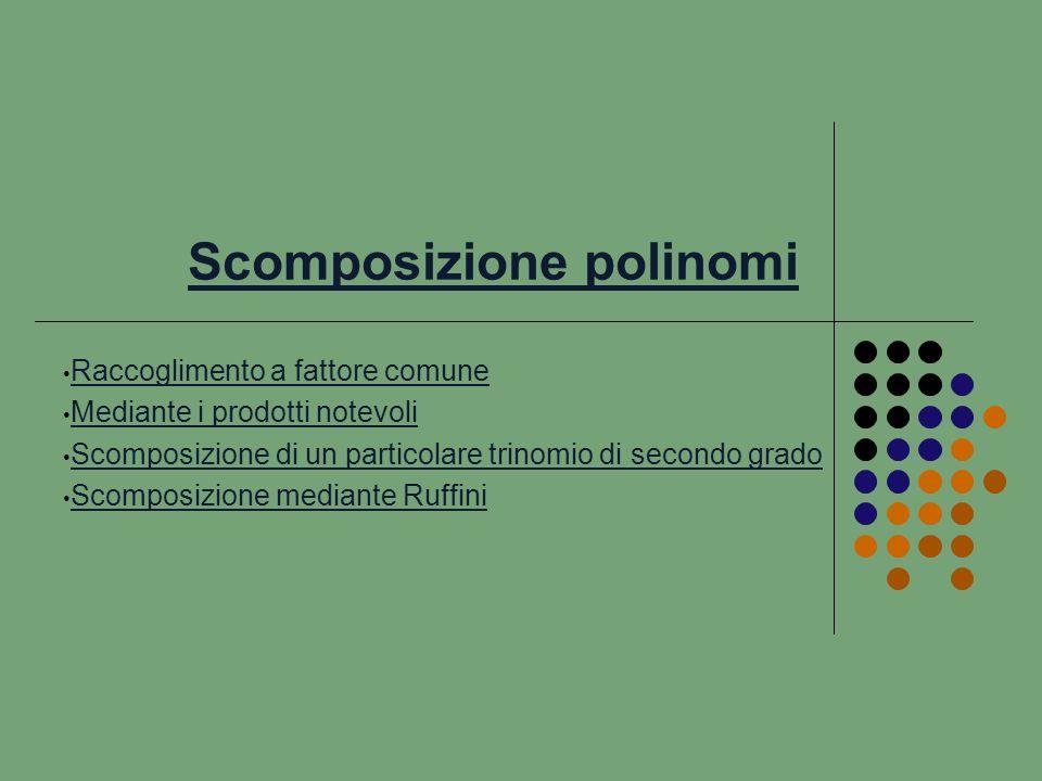 Scomposizione mediante Ruffini Sia P(x) un polinomio di grado n qualunque, dove i suoi termini non ammettono un divisore comune e quindi non può essere scomposto mediante raccoglimento a fattore comune, tenendo presente il teorema del resto di Ruffini (un polinomio P(x) è divisibile per il binomio di 1 0 (x + c) se P(–c) = 0 dove P(–c) è il valore dellespressione ottenuta sostituendo al posto della variabile x lopposto del termine noto del binomio) il polinomio può essere scomposto nel prodotto del binomio di 1 0 (x + c) per il polinomio quoziente Q(x) di P(x): (x + c), polinomio di grado n – 1 i cui coefficienti li determiniamo con la tabella di Ruffini, cioè: P(x) = (x + c) Q(x).