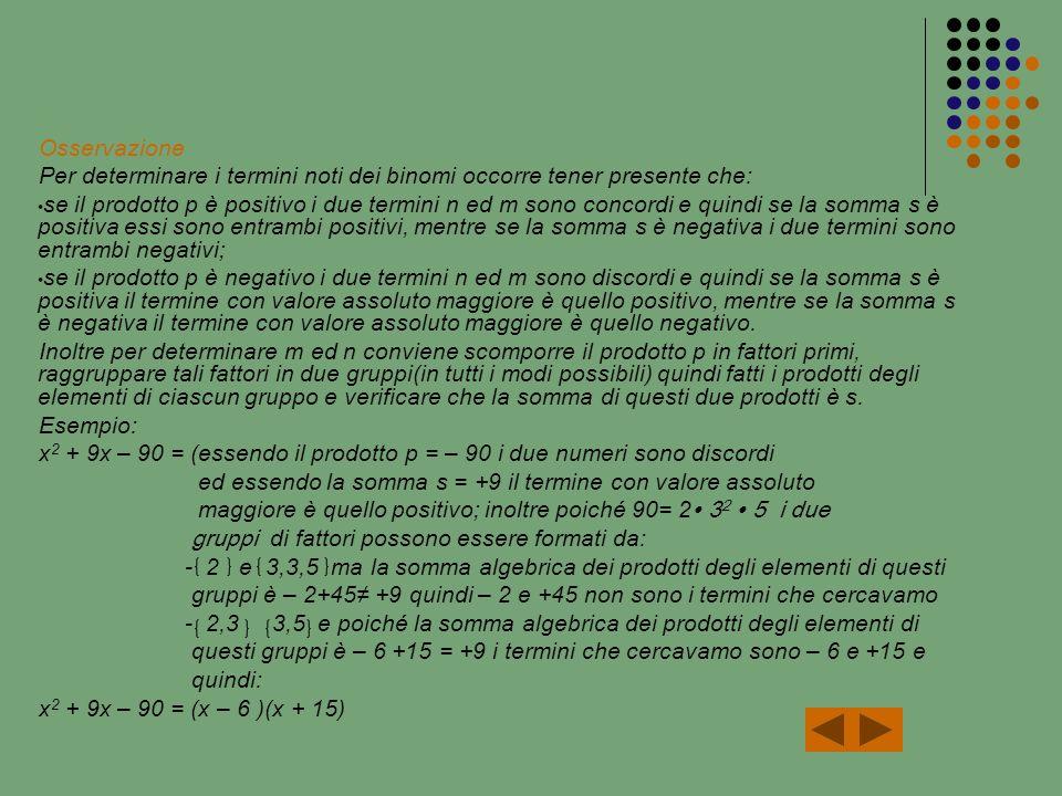 Osservazione Per determinare i termini noti dei binomi occorre tener presente che: se il prodotto p è positivo i due termini n ed m sono concordi e quindi se la somma s è positiva essi sono entrambi positivi, mentre se la somma s è negativa i due termini sono entrambi negativi; se il prodotto p è negativo i due termini n ed m sono discordi e quindi se la somma s è positiva il termine con valore assoluto maggiore è quello positivo, mentre se la somma s è negativa il termine con valore assoluto maggiore è quello negativo.