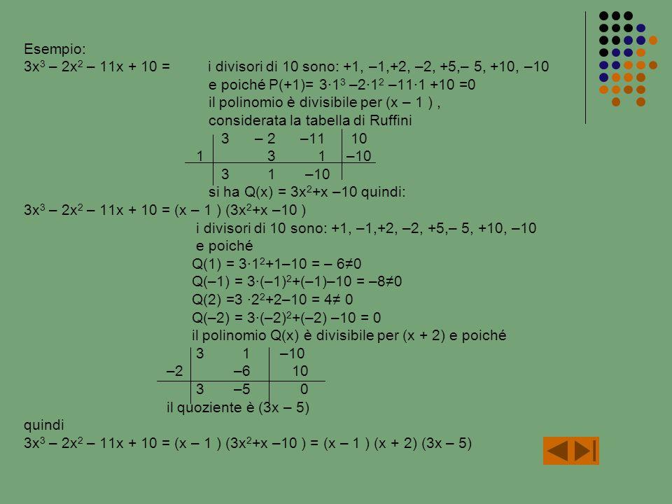 Esempio: 3x 3 – 2x 2 – 11x + 10 = i divisori di 10 sono: +1, –1,+2, –2, +5,– 5, +10, –10 e poiché P(+1)= 31 3 –21 2 –111 +10 =0 il polinomio è divisibile per (x – 1 ), considerata la tabella di Ruffini 3 – 2 –11 10 1 3 1 –10 3 1 –10 si ha Q(x) = 3x 2 +x –10 quindi: 3x 3 – 2x 2 – 11x + 10 = (x – 1 ) (3x 2 +x –10 ) i divisori di 10 sono: +1, –1,+2, –2, +5,– 5, +10, –10 e poiché Q(1) = 31 2 +1–10 = – 60 Q(–1) = 3(–1) 2 +(–1)–10 = –80 Q(2) =3 2 2 +2–10 = 4 0 Q(–2) = 3(–2) 2 +(–2) –10 = 0 il polinomio Q(x) è divisibile per (x + 2) e poiché 3 1 –10 –2 –6 10 3 –5 0 il quoziente è (3x – 5) quindi 3x 3 – 2x 2 – 11x + 10 = (x – 1 ) (3x 2 +x –10 ) = (x – 1 ) (x + 2) (3x – 5)