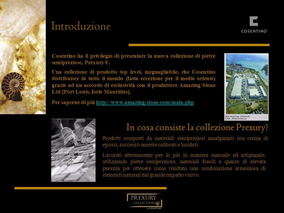 Introduzione Cosentino ha il privilegio di presentare la nuova collezione di pietre semipreziose, Prexury®. Una collezione di prodotto top level, ineg