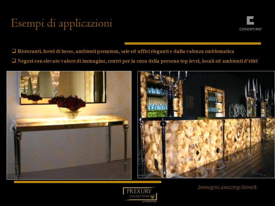 Esempi di applicazioni Ristoranti, hotel di lusso, ambienti premium, sale ed uffici eleganti e dalla valenza emblematica Ristoranti, hotel di lusso, a