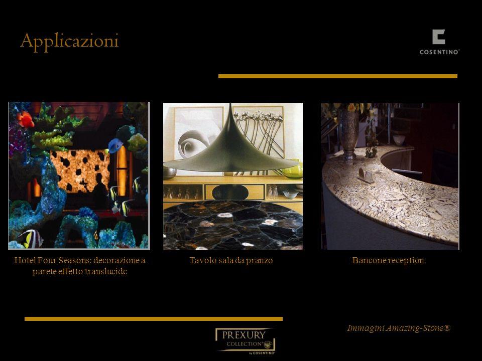 Applicazioni Hotel Four Seasons: decorazione a parete effetto translucidc Tavolo sala da pranzo Bancone reception Immagini Amazing-Stone®