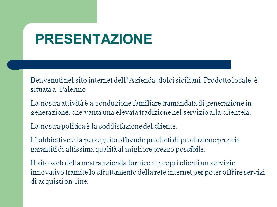 PRESENTAZIONE Benvenuti nel sito internet dell Azienda dolci siciliani Prodotto locale è situata a Palermo La nostra attività è a conduzione familiare