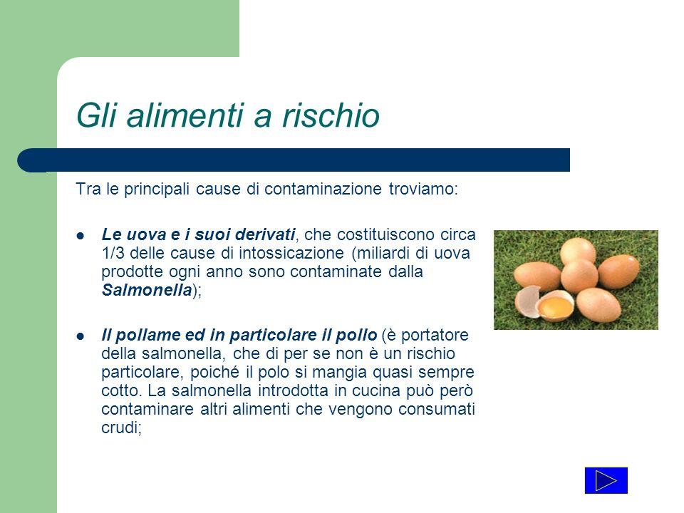 Gli alimenti a rischio Tra le principali cause di contaminazione troviamo: Le uova e i suoi derivati, che costituiscono circa 1/3 delle cause di intos