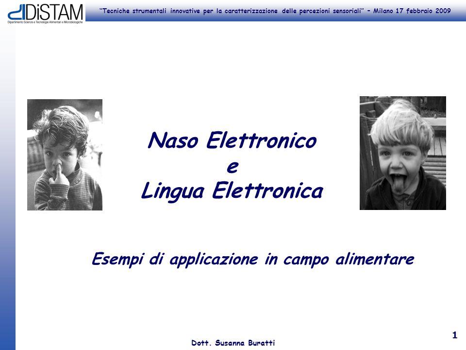 Tecniche strumentali innovative per la caratterizzazione delle percezioni sensoriali – Milano 17 febbraio 2009 Dott. Susanna Buratti 1 Naso Elettronic