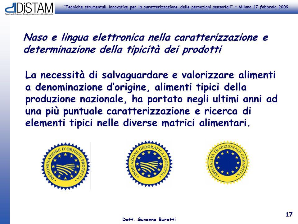 Tecniche strumentali innovative per la caratterizzazione delle percezioni sensoriali – Milano 17 febbraio 2009 Dott. Susanna Buratti 17 Naso e lingua