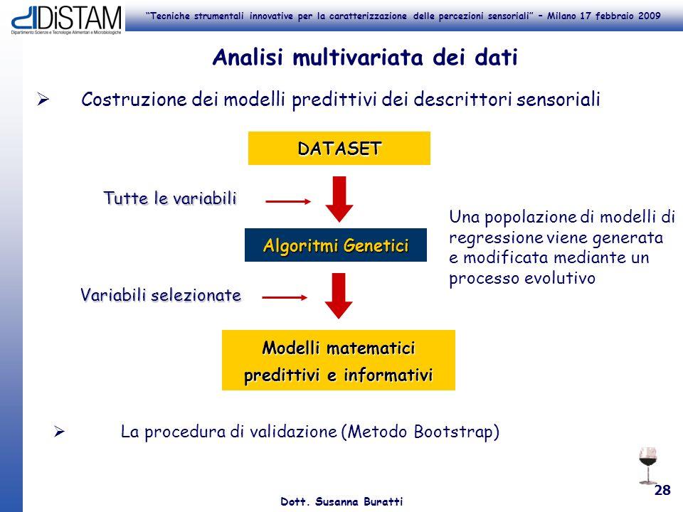 Tecniche strumentali innovative per la caratterizzazione delle percezioni sensoriali – Milano 17 febbraio 2009 Dott. Susanna Buratti 28 Analisi multiv