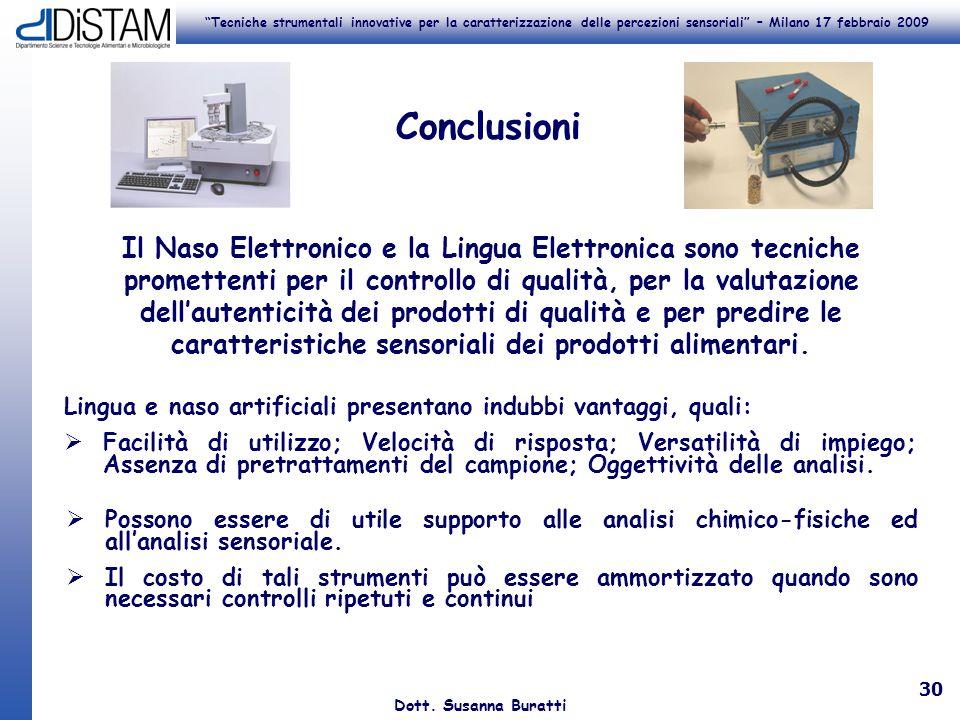 Tecniche strumentali innovative per la caratterizzazione delle percezioni sensoriali – Milano 17 febbraio 2009 Dott. Susanna Buratti 30 Conclusioni Li