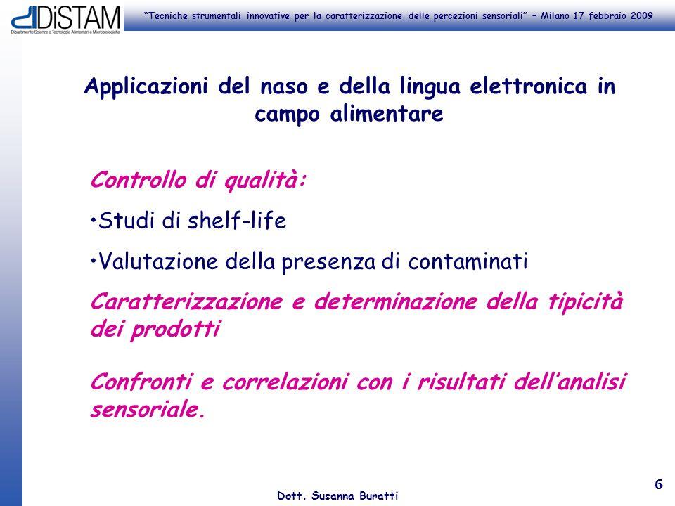 Tecniche strumentali innovative per la caratterizzazione delle percezioni sensoriali – Milano 17 febbraio 2009 Dott. Susanna Buratti 6 Controllo di qu