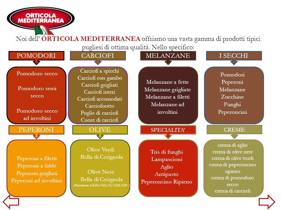 Noi dell ORTICOLA MEDITERRANEA offriamo una vasta gamma di prodotti tipici pugliesi di ottima qualità. Nello specifico: Carciofi a spicchi Carciofi co