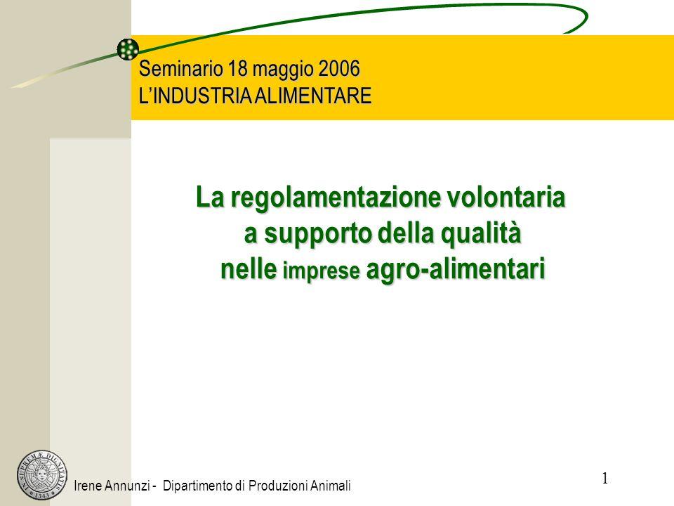 1 Irene Annunzi - Dipartimento di Produzioni Animali Seminario 18 maggio 2006 LINDUSTRIA ALIMENTARE La regolamentazione volontaria a supporto della qu