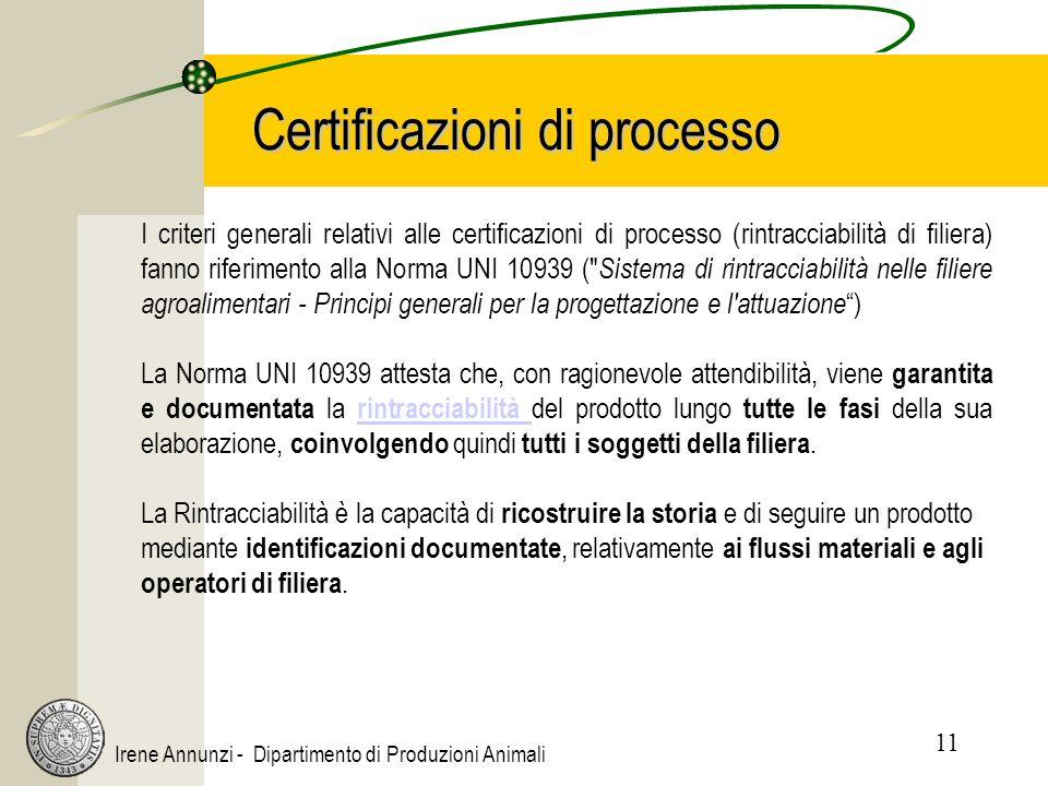 11 Irene Annunzi - Dipartimento di Produzioni Animali Certificazioni di processo I criteri generali relativi alle certificazioni di processo (rintracciabilità di filiera) fanno riferimento alla Norma UNI 10939 ( Sistema di rintracciabilità nelle filiere agroalimentari - Principi generali per la progettazione e l attuazione ) La Norma UNI 10939 attesta che, con ragionevole attendibilità, viene garantita e documentata la rintracciabilità del prodotto lungo tutte le fasi della sua elaborazione, coinvolgendo quindi tutti i soggetti della filiera.