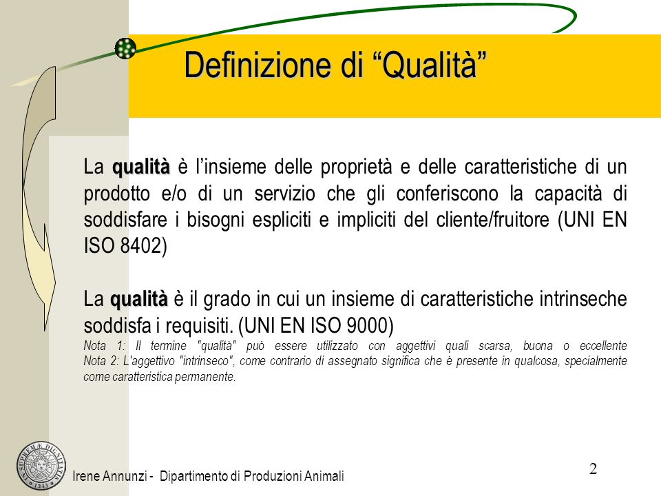 2 Irene Annunzi - Dipartimento di Produzioni Animali Definizione di Qualità qualità La qualità è linsieme delle proprietà e delle caratteristiche di un prodotto e/o di un servizio che gli conferiscono la capacità di soddisfare i bisogni espliciti e impliciti del cliente/fruitore (UNI EN ISO 8402) qualità La qualità è il grado in cui un insieme di caratteristiche intrinseche soddisfa i requisiti.