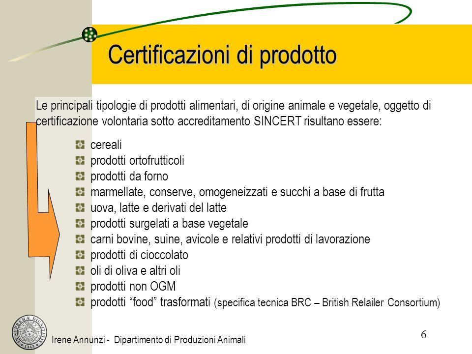 6 Irene Annunzi - Dipartimento di Produzioni Animali Certificazioni di prodotto cereali prodotti ortofrutticoli prodotti da forno marmellate, conserve