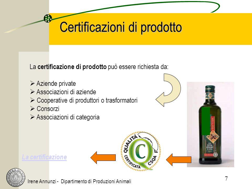7 Irene Annunzi - Dipartimento di Produzioni Animali Certificazioni di prodotto La certificazione di prodotto può essere richiesta da: Aziende private Associazioni di aziende Cooperative di produttori o trasformatori Consorzi Associazioni di categoria La certificazione