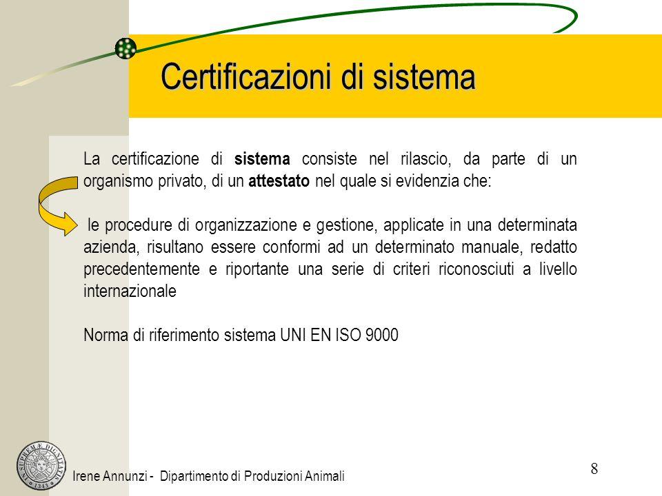 8 Irene Annunzi - Dipartimento di Produzioni Animali Certificazioni di sistema La certificazione di sistema consiste nel rilascio, da parte di un organismo privato, di un attestato nel quale si evidenzia che: le procedure di organizzazione e gestione, applicate in una determinata azienda, risultano essere conformi ad un determinato manuale, redatto precedentemente e riportante una serie di criteri riconosciuti a livello internazionale Norma di riferimento sistema UNI EN ISO 9000
