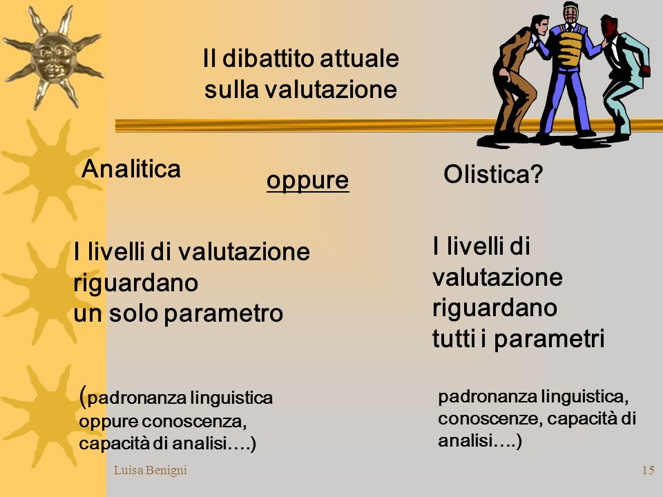 Luisa Benigni15 Il dibattito attuale sulla valutazione Analitica I livelli di valutazione riguardano un solo parametro I livelli di valutazione riguar